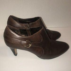 Cole Haan NikeAir Brown Ankle Leather Heel Booties